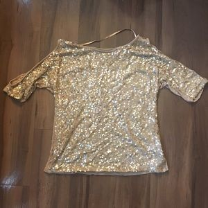 Gold sequin INC top